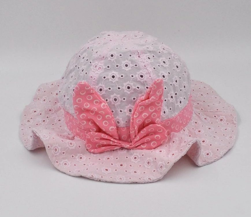 8785e62d72c59 2019 new fashion Kid baby 100% Cotton embroider fabric Bucket hats   Sun Hat  with bow knot