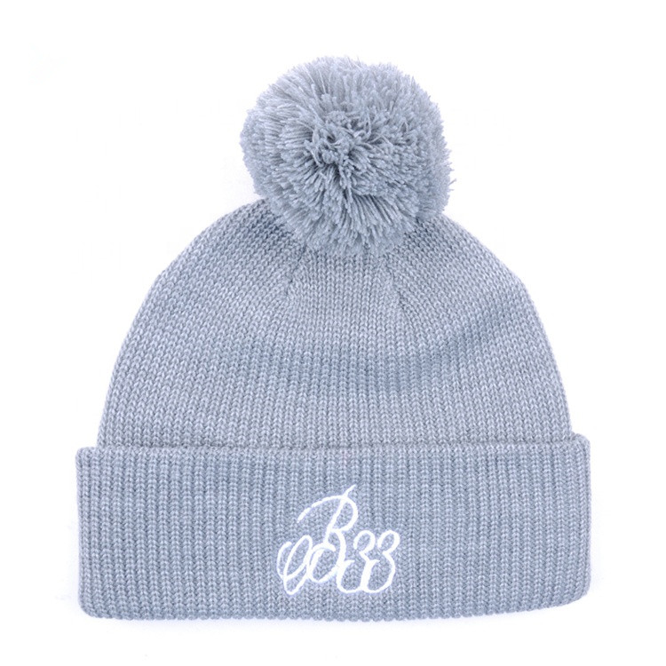 c838a079dedfc Custom embroidery logo plain knit hat
