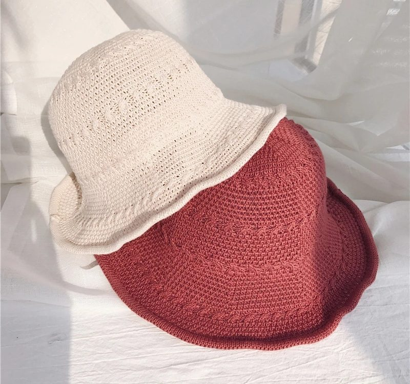 a7ce2182 New Sweet Lady Knit Bucket Hat Foldable Cotton Knitted Fisherman Hat  Wholesale